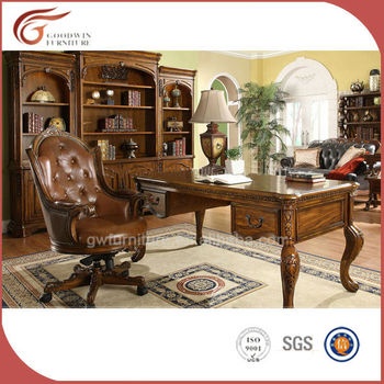 Beau European Style Antique Wooden Study Table Designs From Malaysia