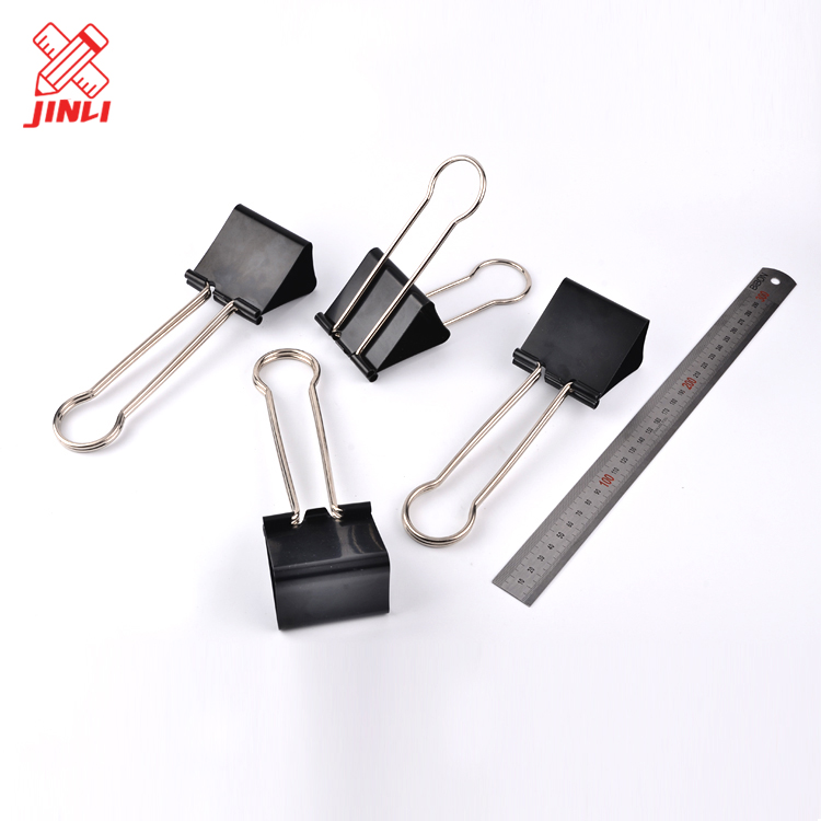 Metal paper clips stationery accessories black colored binder office binding supplies metal clip