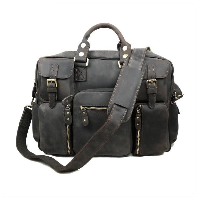 Vintage Casual Luxury 100% Genuine Cowhide Crazy Horse Leather Briefcase  Men Travel Handbag Shoulder Messenger Bag Male Bags