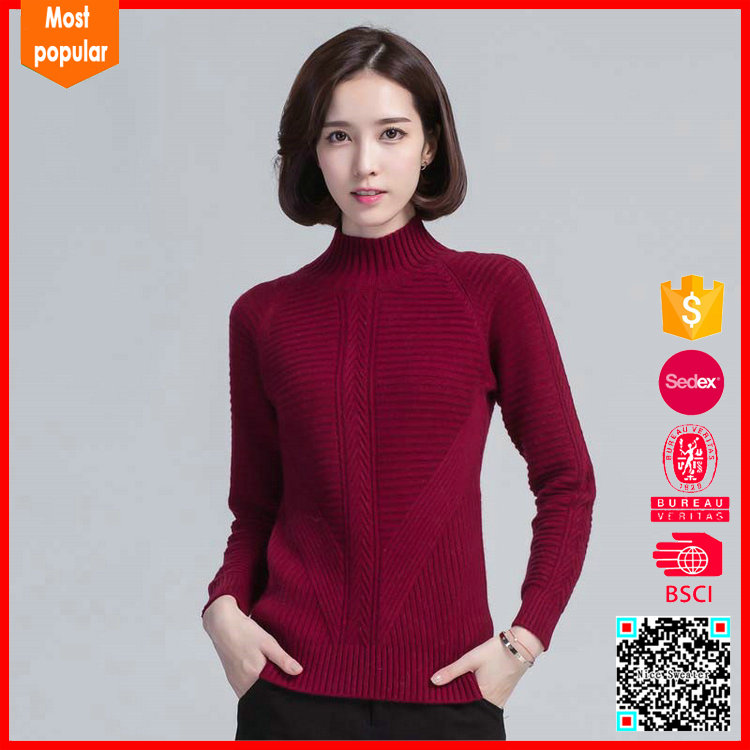 Long sleeve O neck fashion women knitted sweater pullover