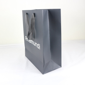 Hot stamping 210g white cardboard paper gift bags with handle
