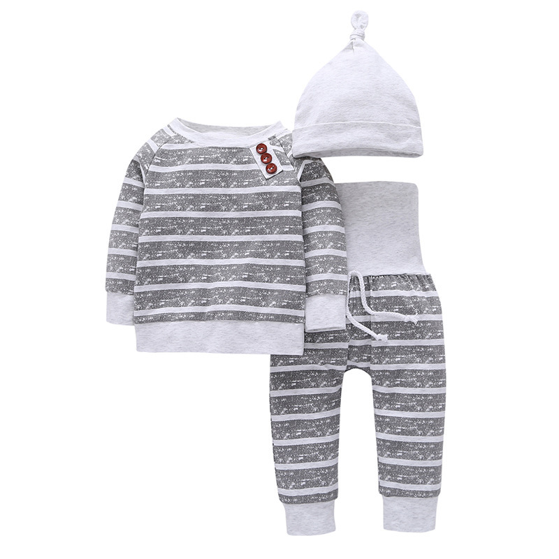 Wholesale Super Fashion Factory Direct Sell Baby Clothes Set Cotton 3 Pieces Kid Garment