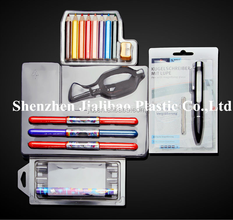 clear plastic pencil box/folded retail pencil box packaging