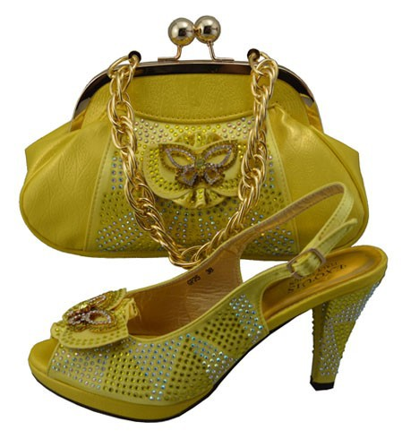 2015 Newest italian type Shoes and Matching Bags set,with plenty stone for party Italy Shoes and Bags in yellow