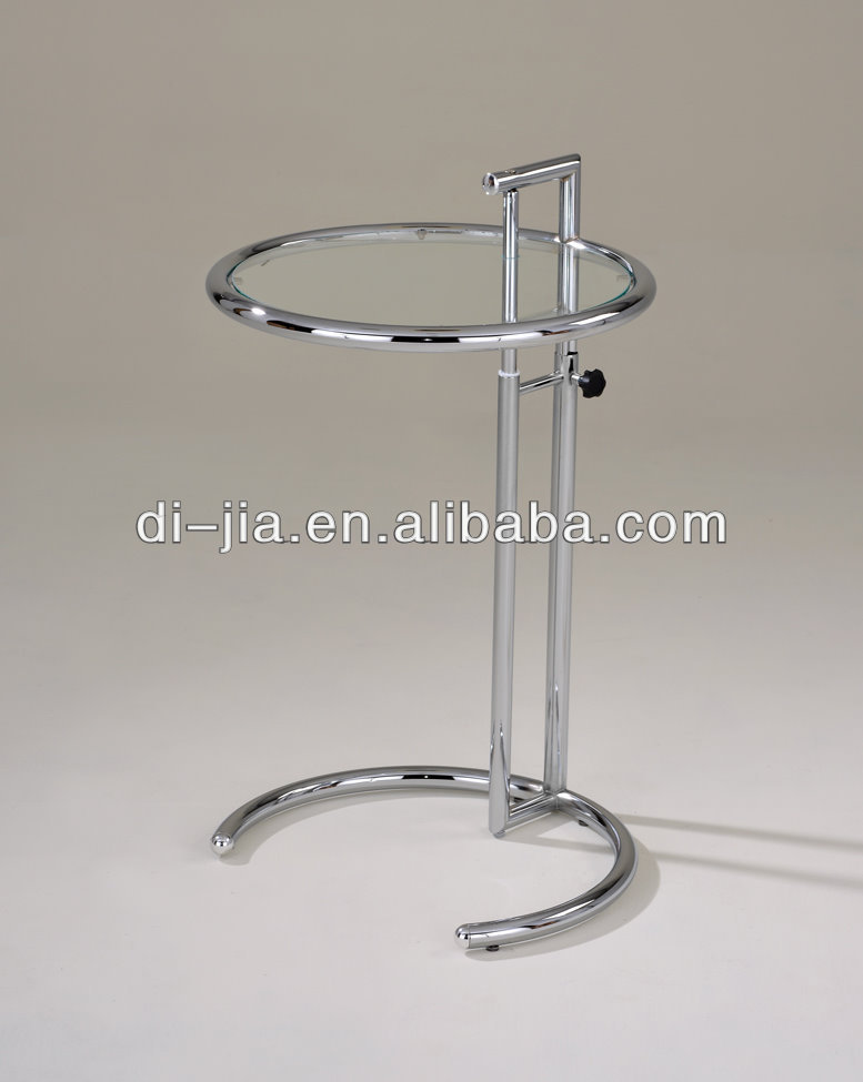 Adjustable height glass side table modern side table Eileen gray glass table