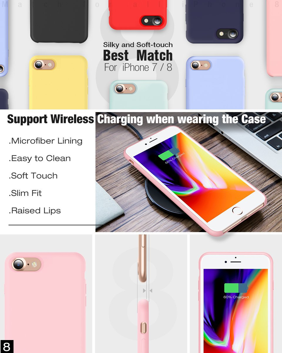 Microfiber liquid silicone case for Apple Iphone 7 8 X Plus Original Shockproof soft rubber case with logo