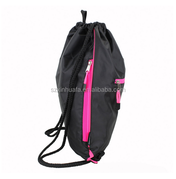 High Quality Black Drawstring Bag With Zipper Front Pocket