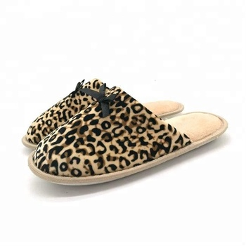 040a74b91a1 Womens Leopard Animal Print slippers with Ribbon Bows Bedroom House Indoor  Slippers