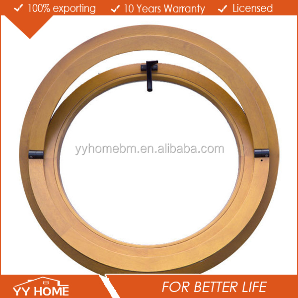 YY Home round shape wooden grain aluminium window