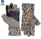 Leopard Print Patterned Synthetic Leather Outdoor Workout Riding Half finger Bike Fingerless Sports Gloves Cycling