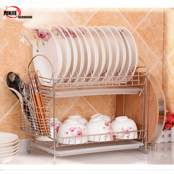 2-tier chromed commercial kitchen stainless steel dish drying rack/dish organizer/plate & 2-tier Chromed Commercial Kitchen Stainless Steel Dish Drying Rack ...
