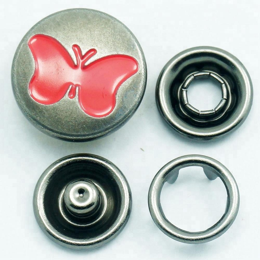 custom wholesale metal garment accessories fashion ring prong pearl four parts press metal snap button