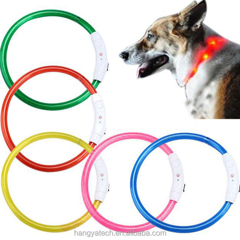 Promotion Support DIY USB Rechargeable Light Silicon broken colour LED Flashing Pet Band Belt Dog Collar