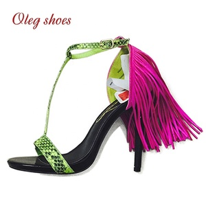 ladies high heels Green Snake skin Sexy summer sandals with fancy tassel