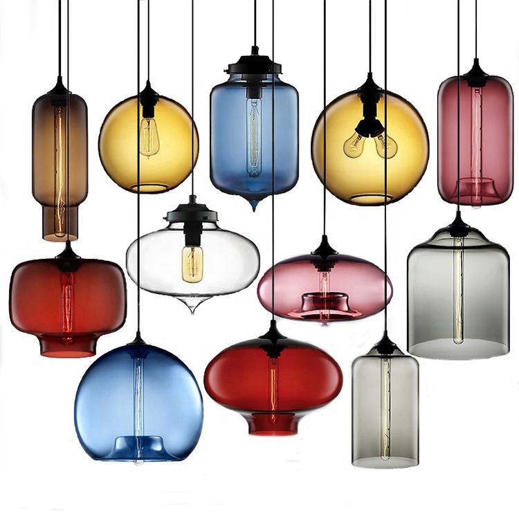 रंगीन कांच लटकन प्रकाश E27 E26 पश्चिमी शैली फांसी दीपक 110 V 220 V