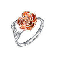 New Style Rose Flower Copper Ring for Women Adjustable Wrap Open Ring