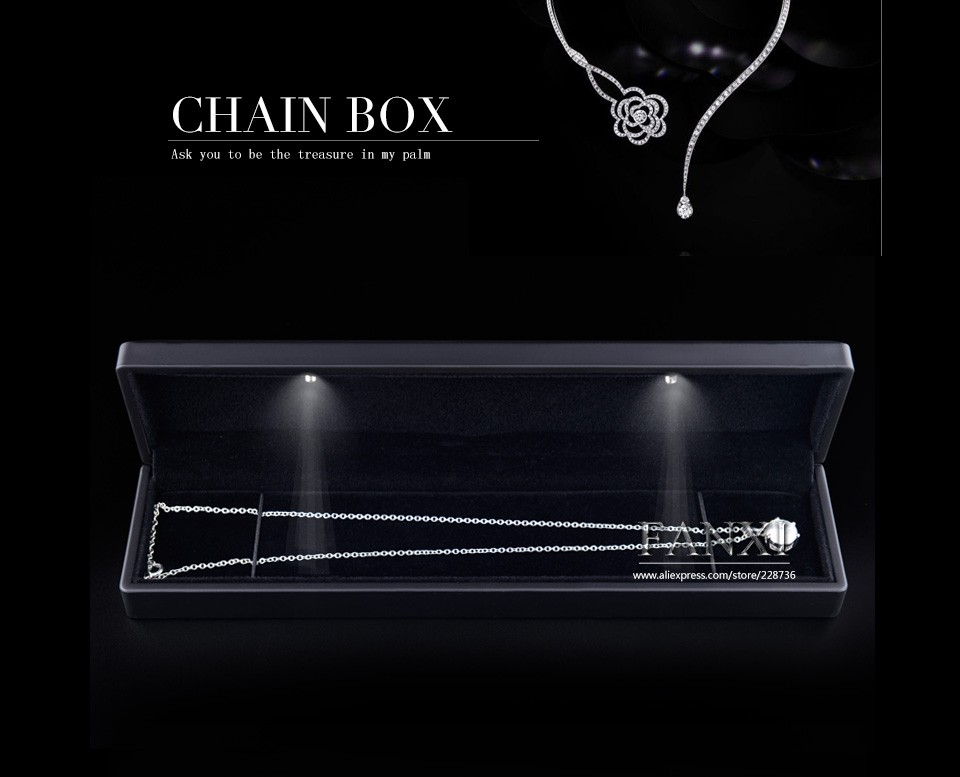 FANXI Custom Logo Jewelry Box Black lacquered Bracelet Jewelry box With LED light