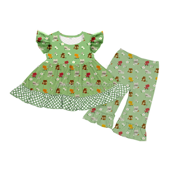 27d3f51a8f11 Hot selling infant kids outfits organic baby green color clothes ...
