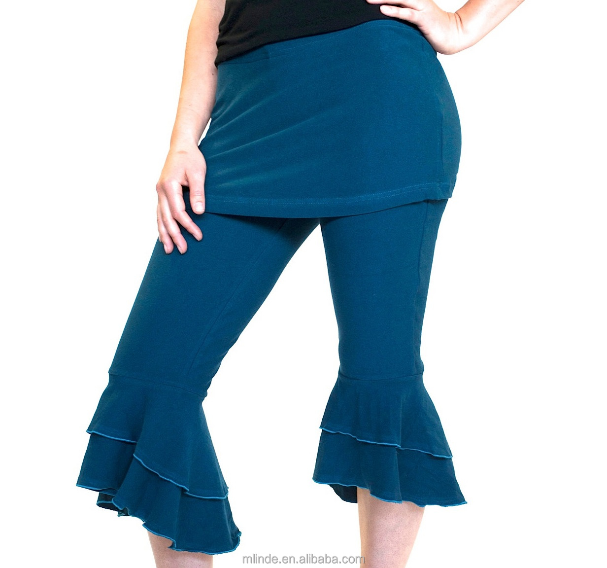 Ruffle bottom Capri Pants / bloomers with skirt women lady yoga dance wear flare women's bottoms