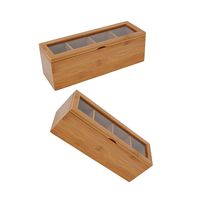 Custom Logo Wood Gift Boxes Glass Lid Rustic Wooden Tea Bag Storage Box With Clear Window 7