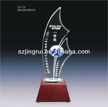 Custom design crystal glass trophy award plaques jc173 for How to design a trophy