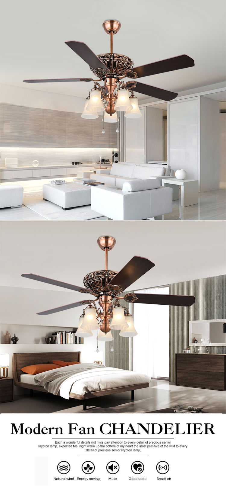 Hot Sale 70W Indoor 52 Inch Wood Blades Vintage Led Light Ceiling Fan
