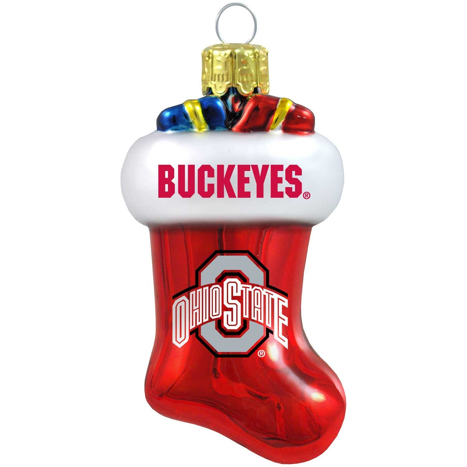 Buy Topperscot NCAA Ohio State Buckeyes Blown Glass Candy Cane Set ...