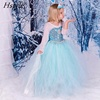 Wholesale Free Shipping -When The Frozen Ice ELSA Long Shawls Dress Girl Dress Princess Dress Size 100-140cm SU045