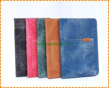 Fashion Jeans Wallet stand Cover Case for iPad Mini 4 with card slots