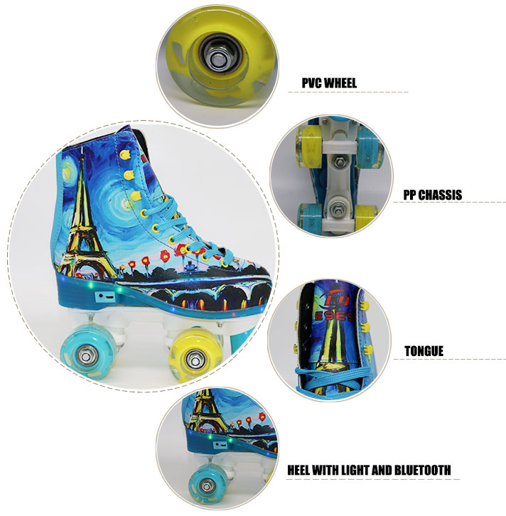 2018 New hot selling fashional patines quad roller skate shoes patines with bluetooth and light