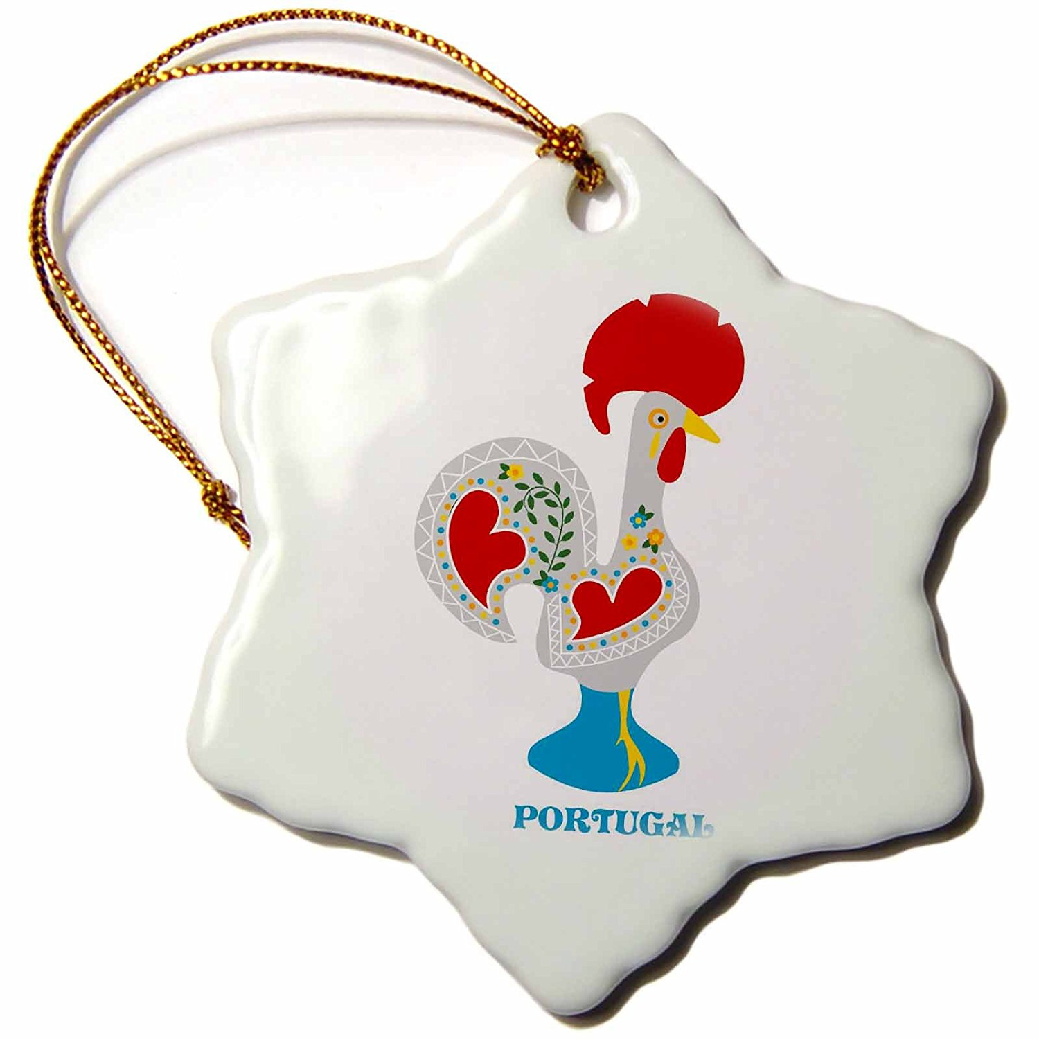 3dRose orn_160671_1 The White Portuguese Rooster or Galo De Barcelos Porcelain Snowflake Ornament, 3-Inch