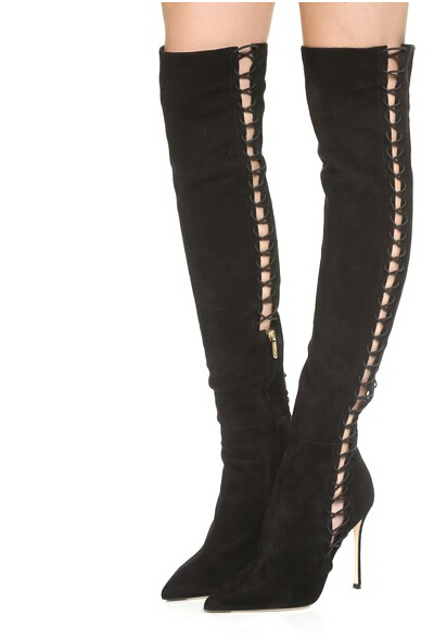35e4080b30f5 Hot New Over The Knee HIgh Gladiator Lace Up Thigh HIgh Boots Sexy Pointed  Toe HIgh