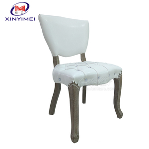 Diamond button tufted PU leather comfortable modern solid wood dining chair