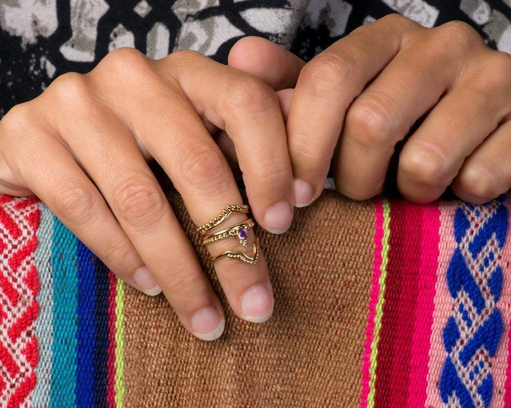 Boho Midi Knuckle Rings, 24k Gold Plated Indian Style Stacking Rings, Set of 3, Handmade Unique Statement Jewelry