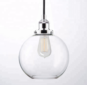 Round 110 volt led Industrial Kitchen Pendant Light Antique Indian Chrome Glass Ball Hanging chandelier lamp Fixtures