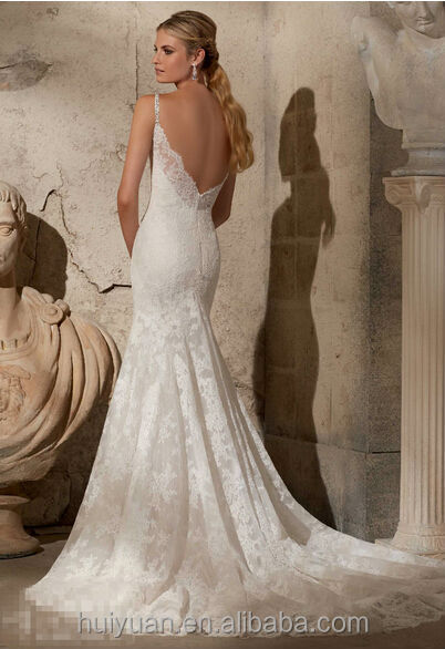 Deep Low Back Wedding Dress : Sexy deep v neck lace strap open back wedding dresses