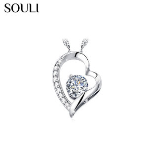 Fashion Necklace Jewelry, Personalized Love Heart Zircon Pendant Necklace