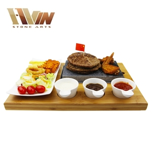 Steak Stone and Plate Set of 7,Steak On Stones Cooking Steaks Hot Rock Grill Plate,Lava Stone Steak Set