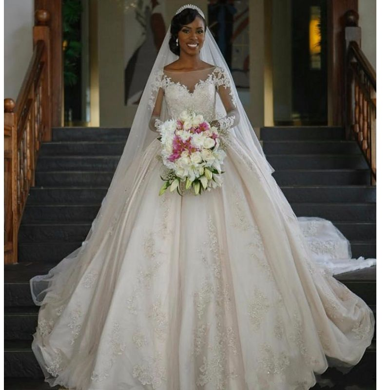 FA80 Wedding Dresses Vintage Long Sleeve Lace Wedding Dresses Ball Gown Satin Sequin Wedding Gowns Weeding Weding Dresses