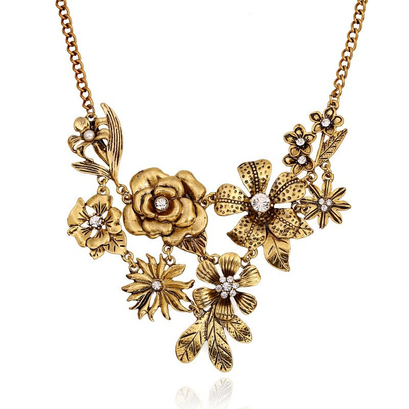 stylized metal gold necklace golden handmade product pendant clay flower bronze