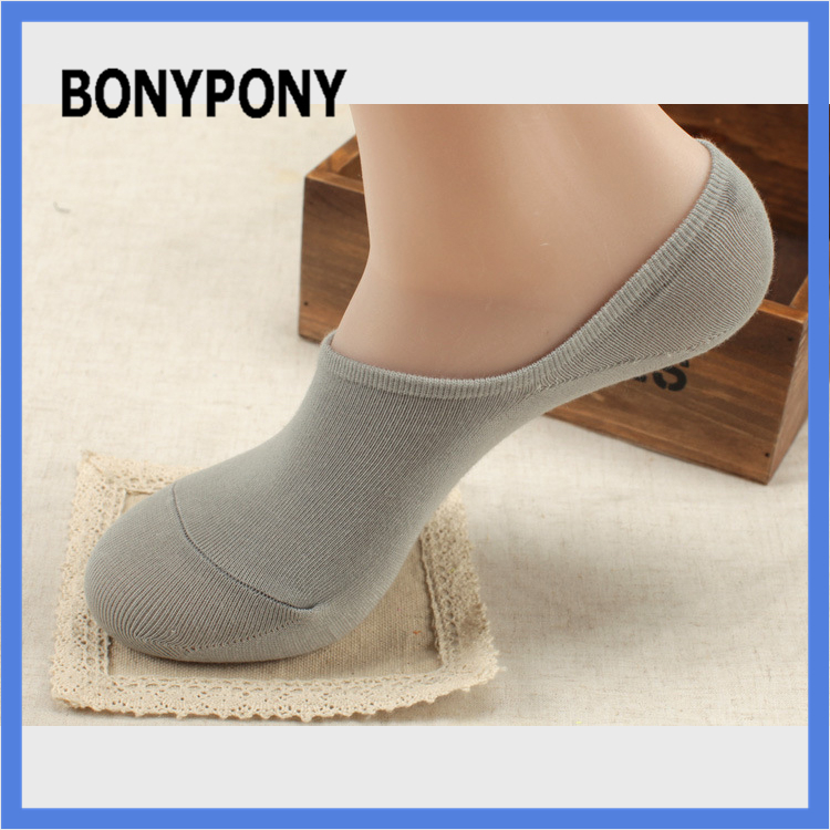 Men bamboo invisible socks Bonypony factory hotsale low-carbon life anti bacterial anti-slip natural bamboo men invisible socks