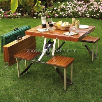Portable Picnic Table Wood Picnic Furniture Outdoor Camping Gear Patio  Furniture