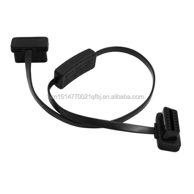 Flat Thin OBD Extension Cable with Switch 1 Male to 1 Female OBD Cable with Switch