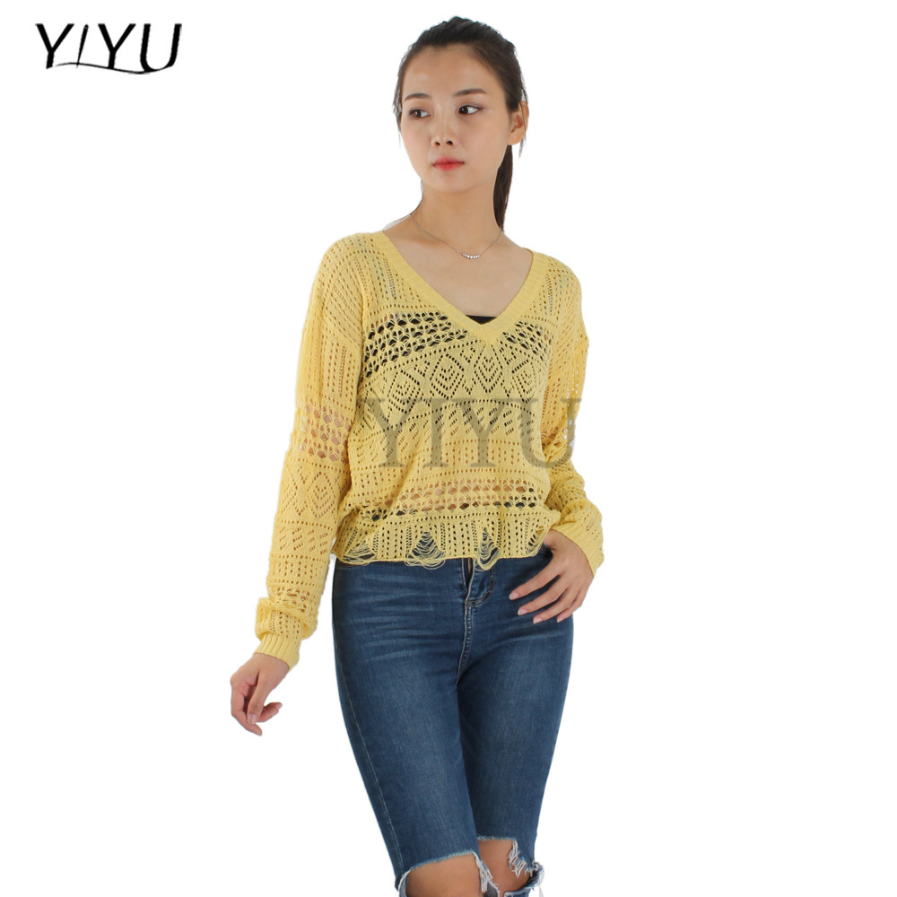 korea style women yellow hollow out v-neck knitted croy jumper