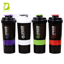 2017 New Design 500ml/17oz Custom PP Protein Shaker Bottle with Plastic Ball & Handle