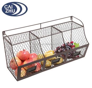 808d126ec63 Large Rustic Brown Metal Wire Wall Mounted Hanging Fruit Basket Storage  Organizer Bin w  Chalkboards