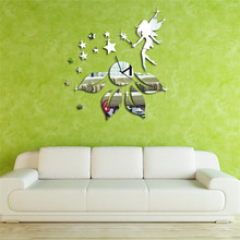 Hot  New Hot 3D Clock Star Fairy Design Mirror Effect Wall Sticker Modern Room Decor home decoration drop shipping