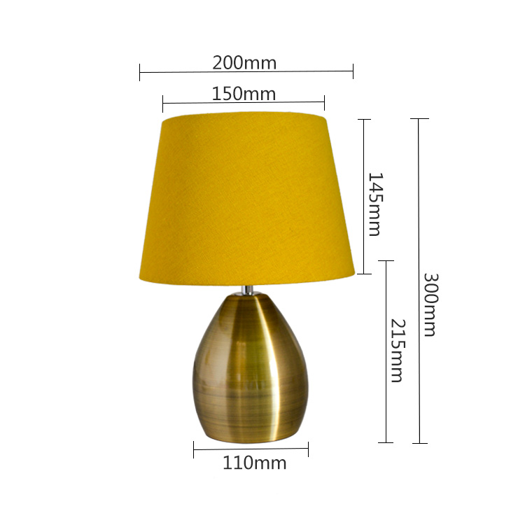Wholesale cheap promotion gift fabric lamp shade copper metal mini reading table lamp for home decorative