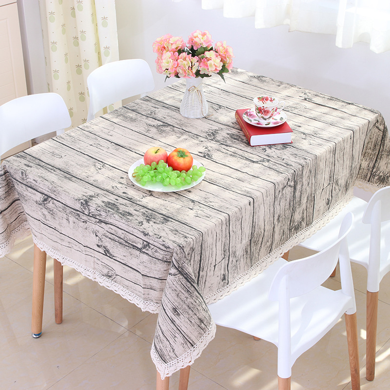 Made In China Rural style striped Cotton and linen material table cloth