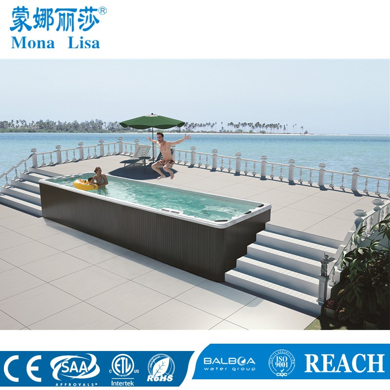 Fiberglass swimming pool/acrylic outdoor swim spa/endless pool M-3325 make by manufacturer